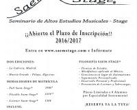 Abierto el Plazo de Inscripción 2016/2017 para Seminario de Altos Estudios Musicales