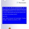 Acto de Conmemoración del 27 Aniversario de la Creación del Cuerpo de Policía Local en el Municipio