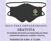 Mascarillas para los Vecin@s de La Cabrera. Solo para empadronados. Ven a recogerla a partir del viernes 18 en el Ayto.