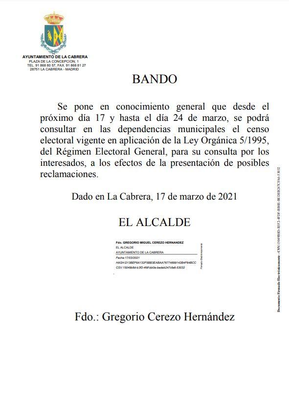 BANDO EXPOSICION LISTAS ELECTORALES