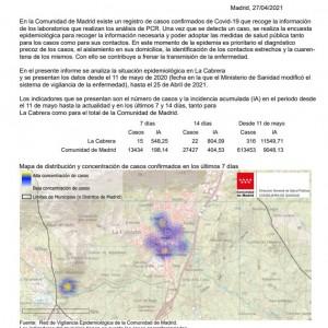 INCIDENCIA COVID19, con fecha 27 de Abril de 2021 en La Cabrera