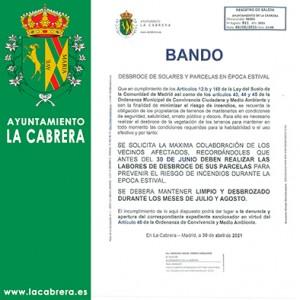 Bando Desbroce  Solares y Parcelas en Época Estival Mayo de 2021