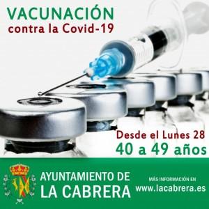 Vacunación desde el Lunes 28 para personas con edades entre 40 y 49 años