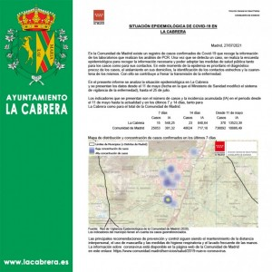 INCIDENCIA COVID19, con fecha 27 de Julio de 2021 en La Cabrera