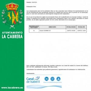 Interrupción programa del suministro de agua en La Cabrera