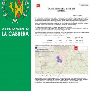 INCIDENCIA COVID19, con fecha de 17 de Agosto de 2021 en La Cabrera