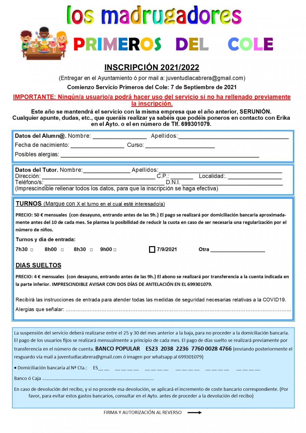 Inscripción Primeros del cole 20212022