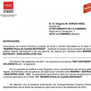 MODIFICACIÓN HORARIO 191 LA CABRERA. 6 DE SEPTIEMBRE 2021